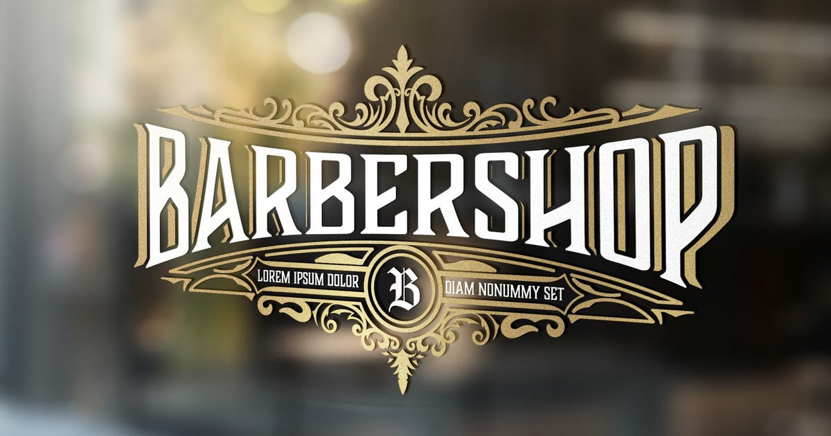 Download Vintage Barber Shop Logo with Floral Elements by roverto007