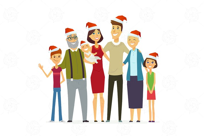 Thumbnail for Family on Christmas - modern vector illustration