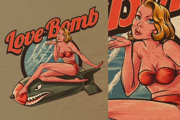 Thumbnail for Retro Vintage Pin Up Girl Logo