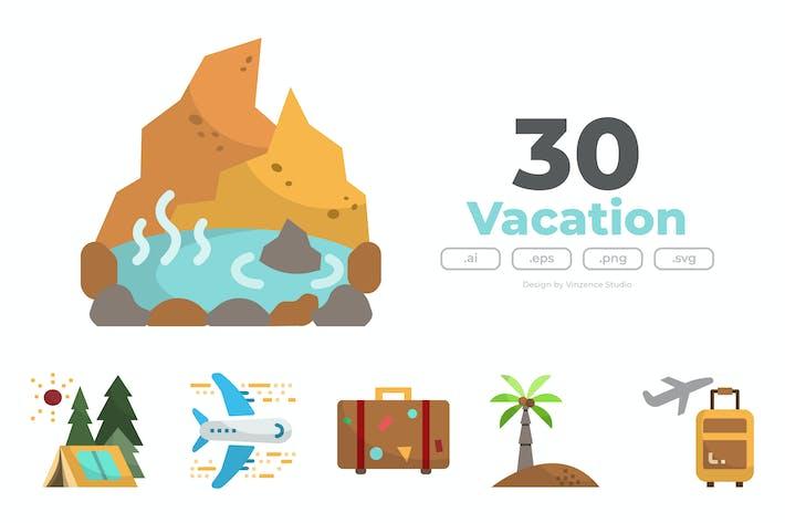 Thumbnail for 30 UrlaubsIcons - FLAT