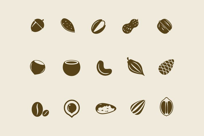 Cover Image For 15 Nut and Seed Icons