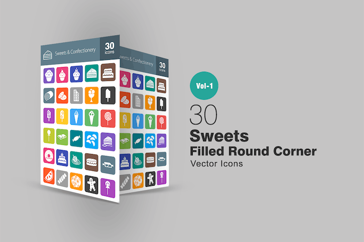 Thumbnail for 30 Sweets & Confectionry Filled Round Corner Icons