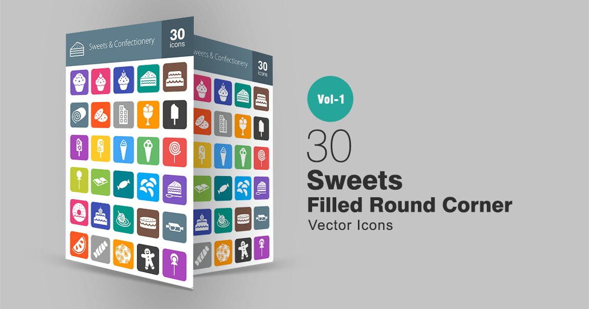Download 30 Sweets & Confectionry Filled Round Corner Icons by IconBunny