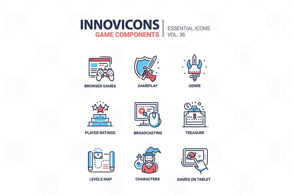 Download Game components - vector line design icons by BoykoPictures
