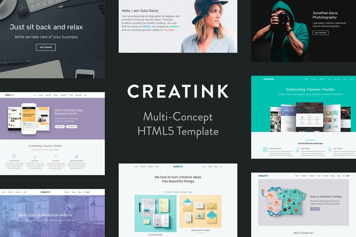 Thumbnail for Crea;tink Multi-Concept HTML5 Template