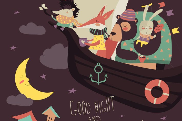Thumbnail for Cute animals swimming on boat in the night sky