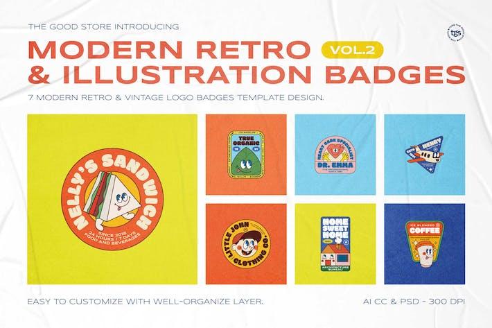 Thumbnail for Modern Retro Illustration Badges Vol.2