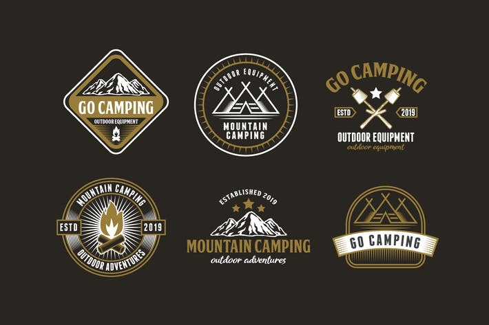 Thumbnail for Set of Camping and Adventure Logo Badge