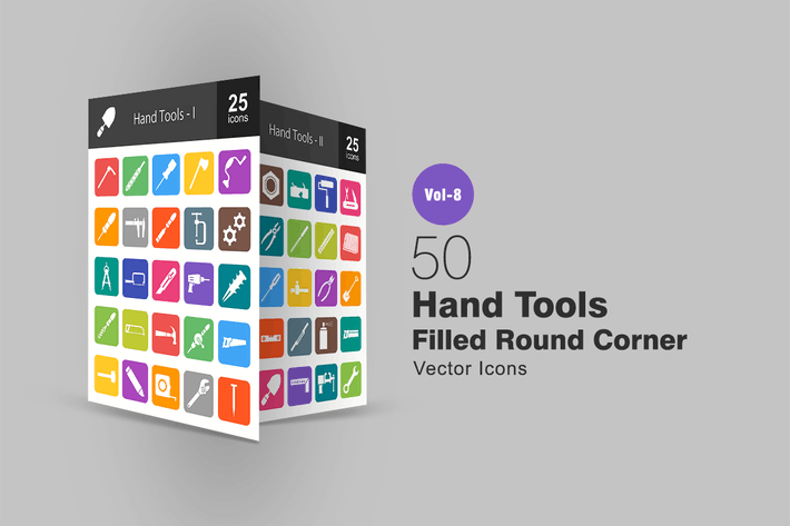 Thumbnail for 50 Hand Tools Filled Round Corner Icons