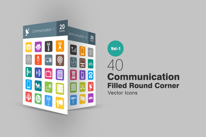 Thumbnail for 40 Communication Filled Round Corner Icons