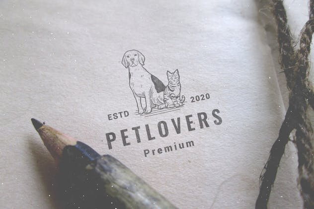 Dog Cat Pet Hipster Vintage Logo