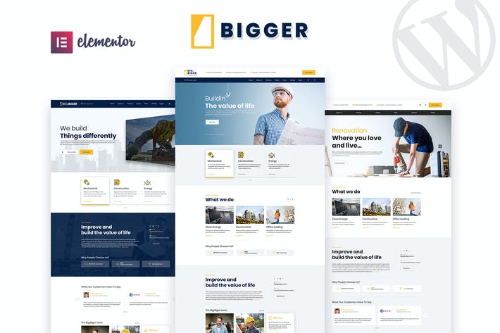 Thumbnail for Bigger - Construction WordPress Theme