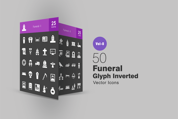 Thumbnail for 50 Funeral Glyph Inverted Icons