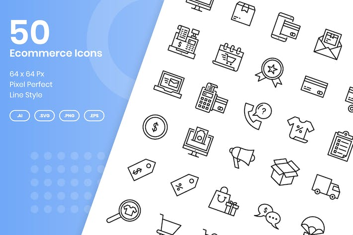 Thumbnail for 50 E-Commerce-Icons Set - Linie