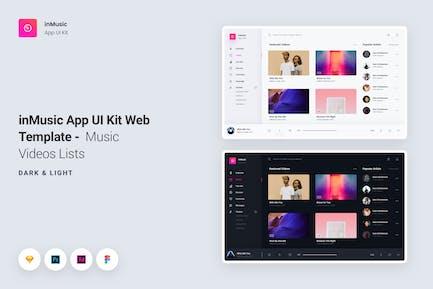 inMusic App UI Kit Web Template - Music Videos