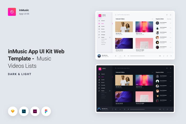 Cover Image For inMusic App UI Kit Web Template - Music Videos