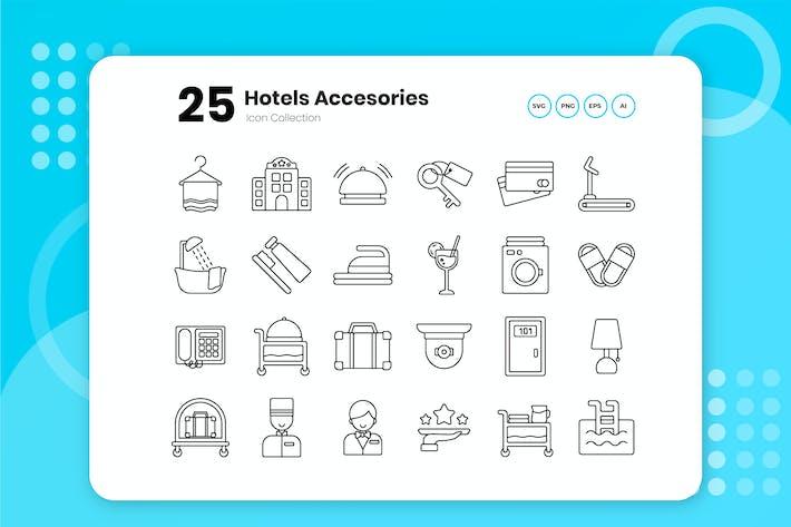 25 Ensemble d'icônes de contour de l'hôtel