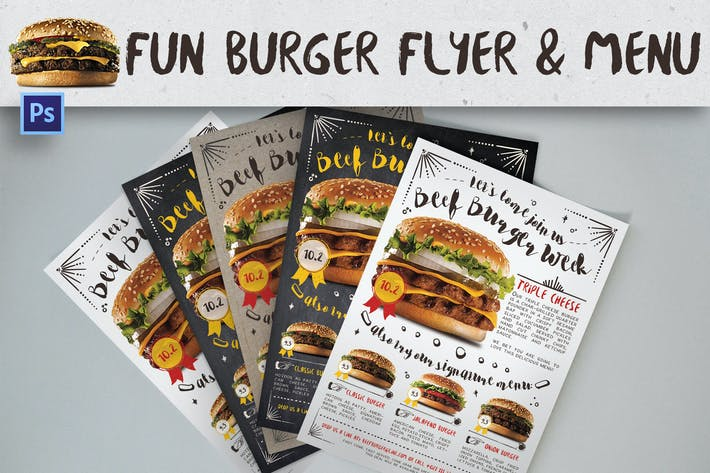 Thumbnail for Fun Burger Flyer & Menu