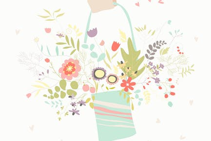 Ramo de flores sostenidas a Mano. Tarjeta de felicitación vectorial