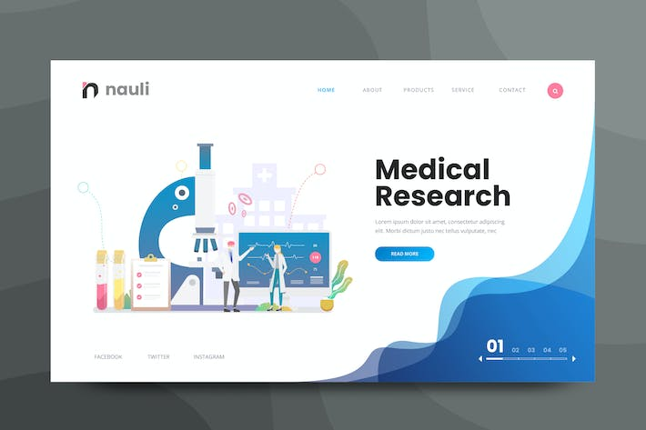 Thumbnail for Medical Science Research Web PSD and AI Vector Tem
