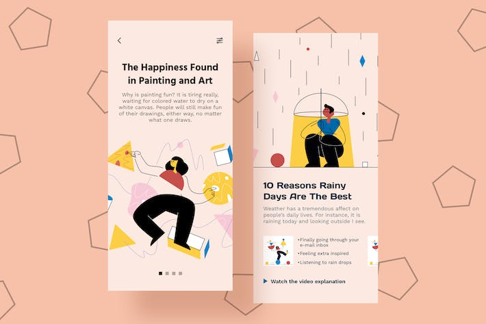 Thumbnail for Happiness Mobile Interface Illustrations