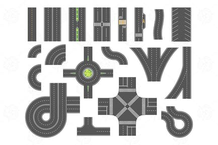 Road map toolkit - set of vector city elements