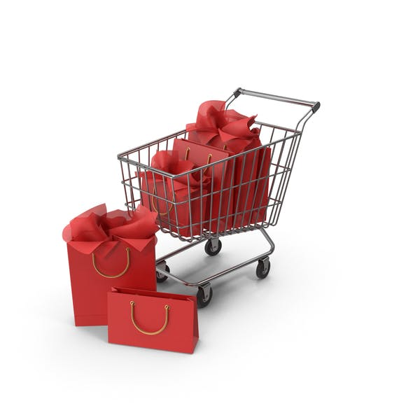 Shopping Cart with Red Packaging Bags