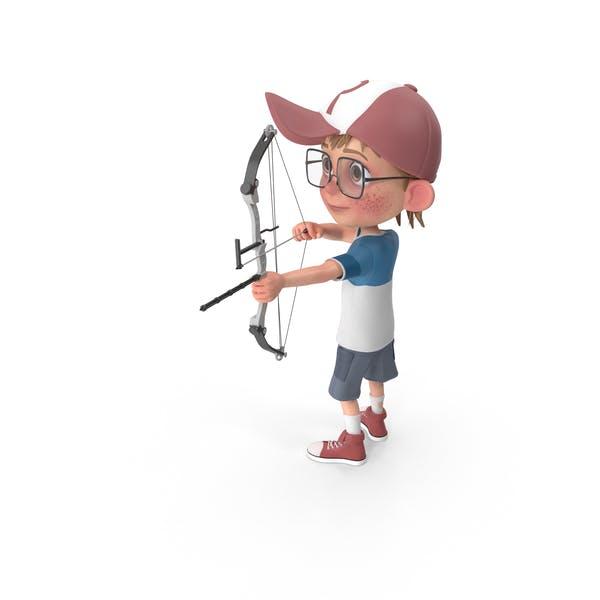 Cartoon Boy Harry Using Bow