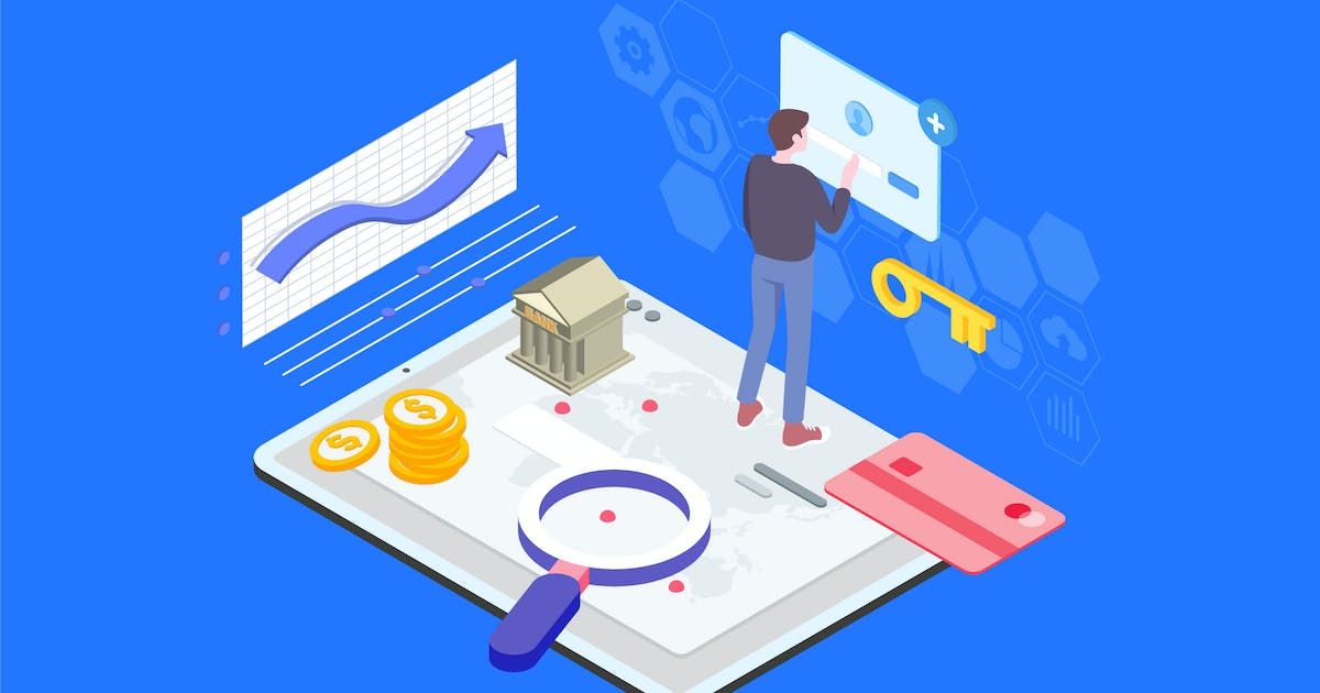 Download Financial Access Isometric Illustration - TU by angelbi88