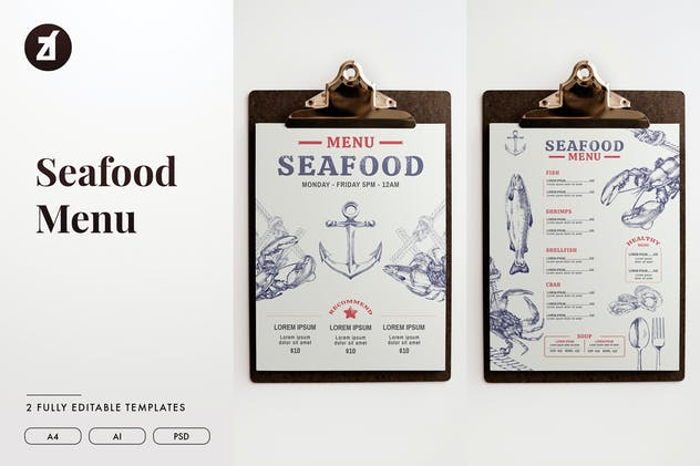 Seafood style menu template - product preview 0