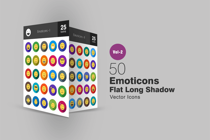 Thumbnail for 50 Emoticons Flat Long Shadow Icons