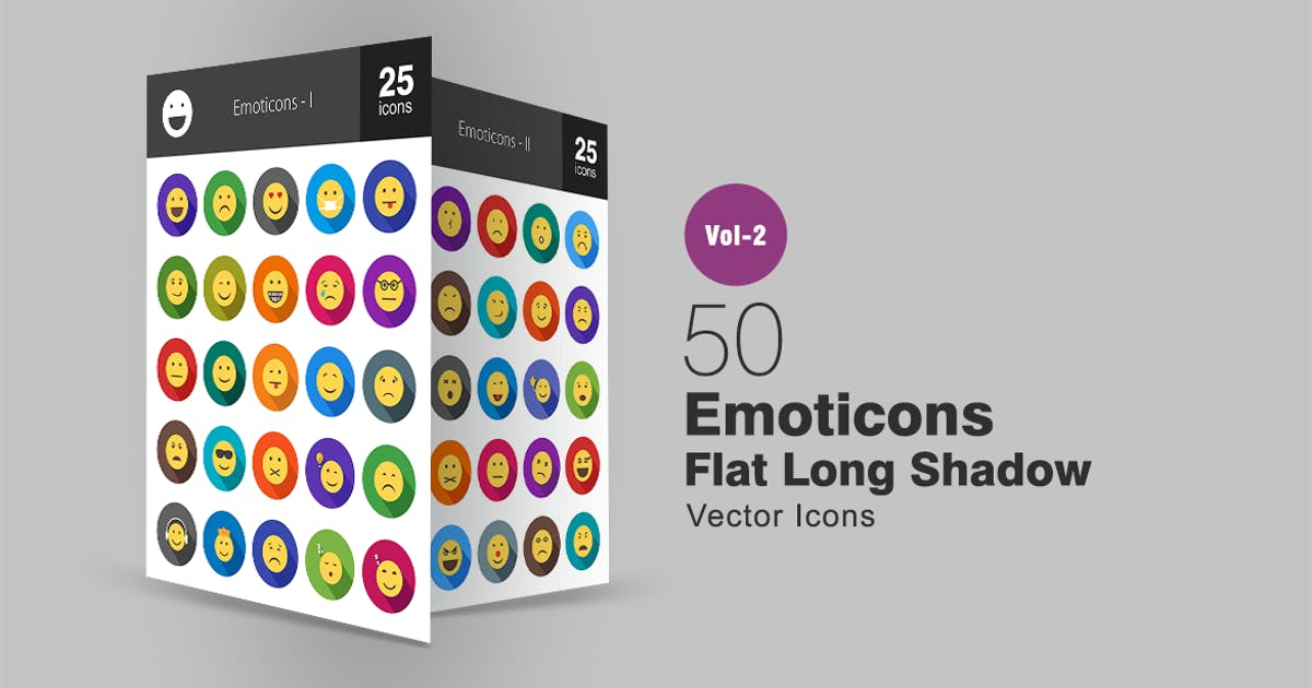 50 Emoticons Flat Long Shadow Icons by IconBunny