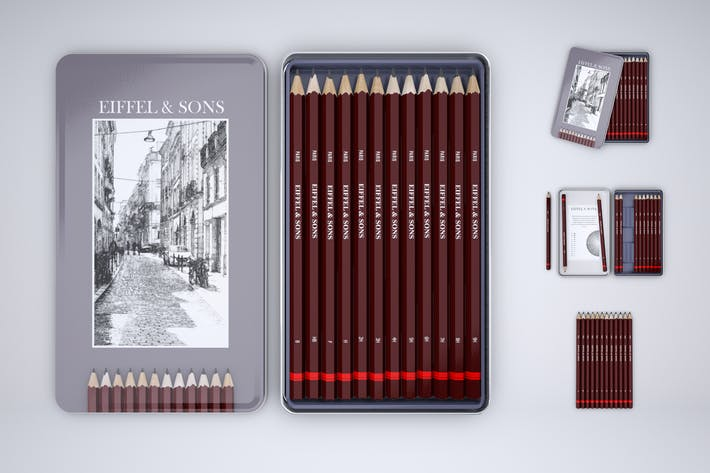 Graphic Pencils Tin Set Mock-Up