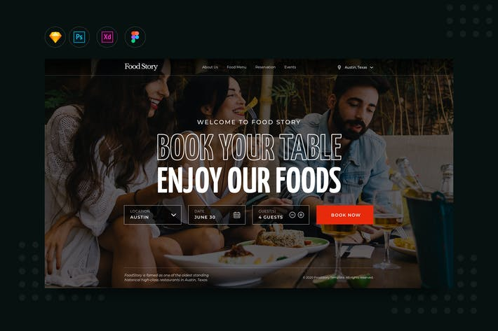 Thumbnail for DailyUI.V10 Restaurant Booking Landing Website