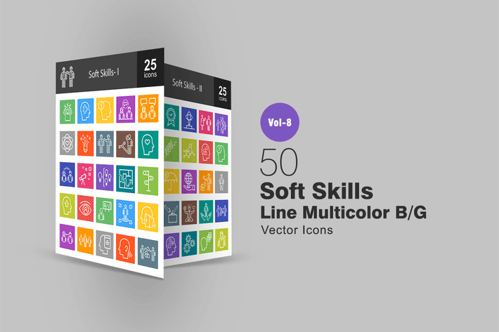 Thumbnail for 50 Soft Skills Line Multicolor B/G Icons