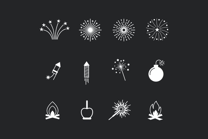 Thumbnail for 12 Bonfire and Fireworks Icons