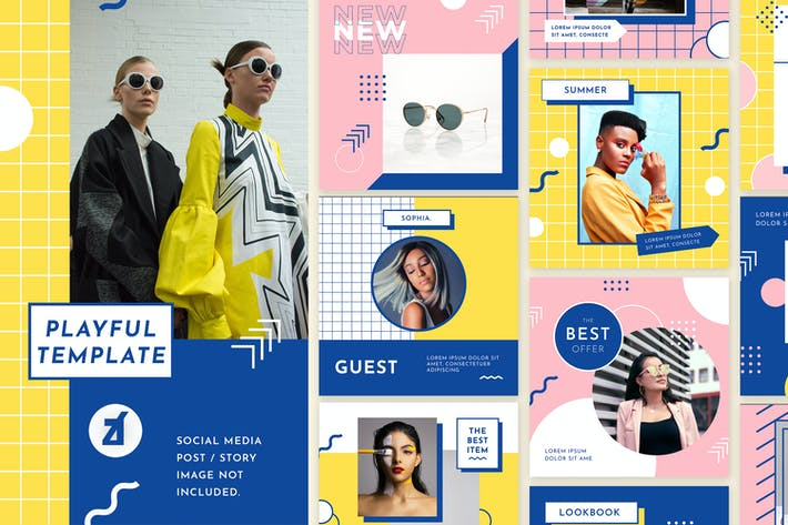 Thumbnail for Playful social media graphic templates