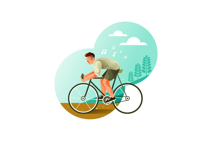 Thumbnail for Youth riding a bicycle while listening to music