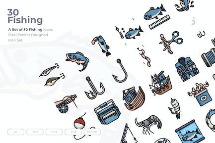 30 Fishing Icons