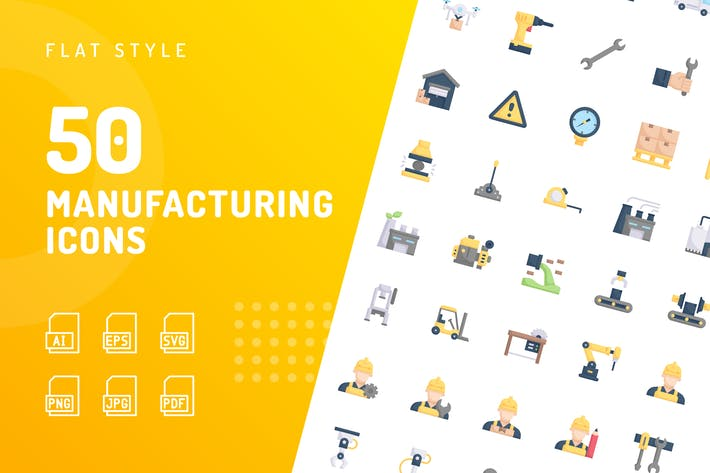 Manufacturing Flat Icons