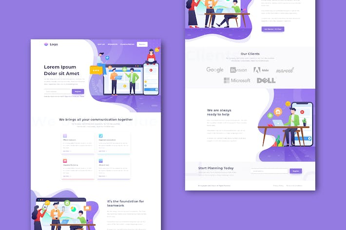 Cover Image For Business Communication Website (XD Template)