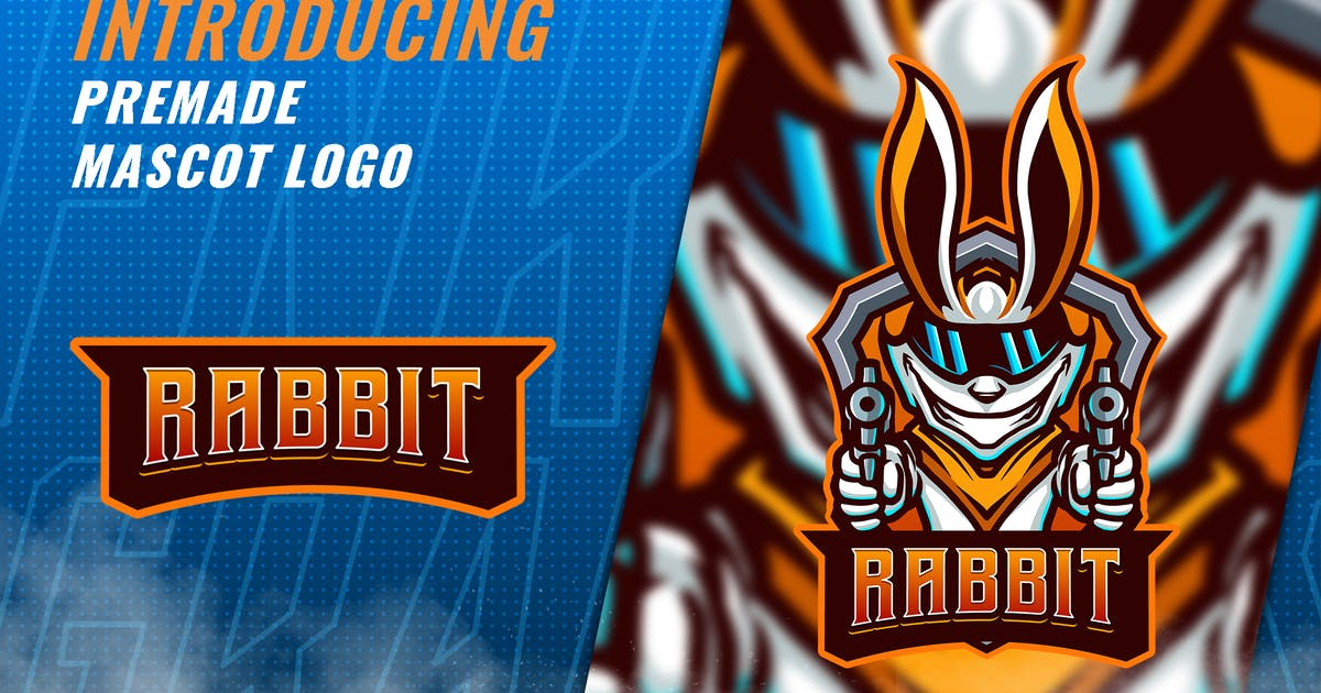 Download Rabbit Shooter - Mascot Esport Logo Template by FNRGraphics