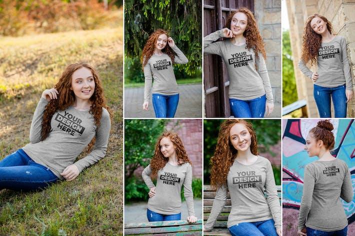 Thumbnail for 10 Women's Heathered Long Sleeve Shirt Mockups
