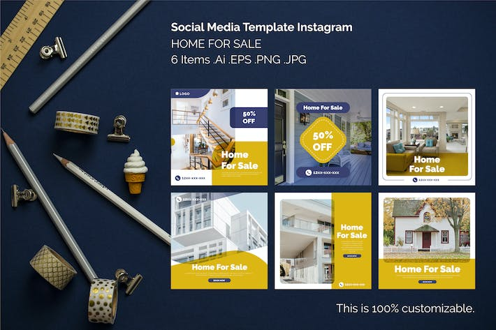 Thumbnail for Instagram Square Templates - Home for Sale