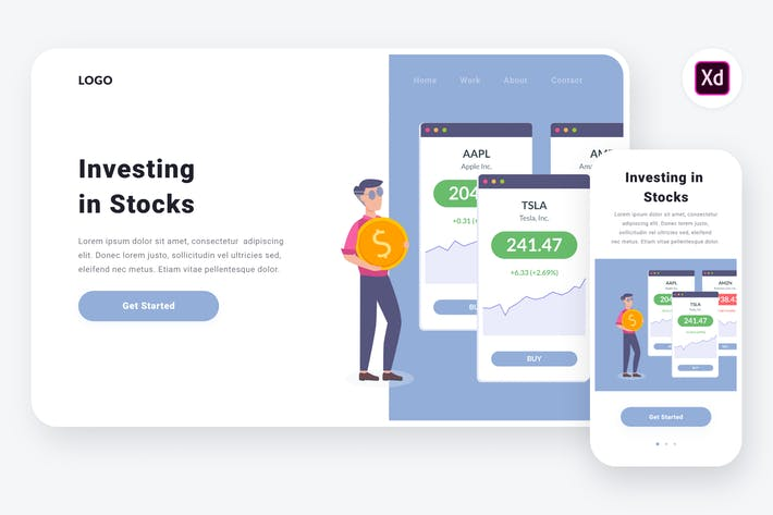 Thumbnail for Investing in stocks illustration (Adobe XD, SVG)