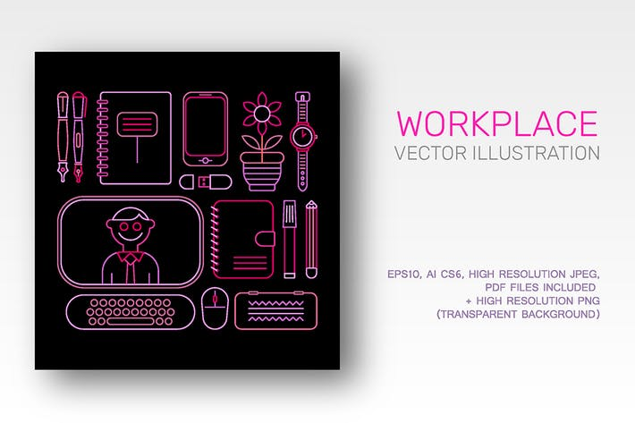 Thumbnail for Workplace neon colors outline vector illustration