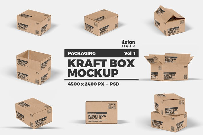 Thumbnail for Kraft Box Mockup - Packaging Vol 1