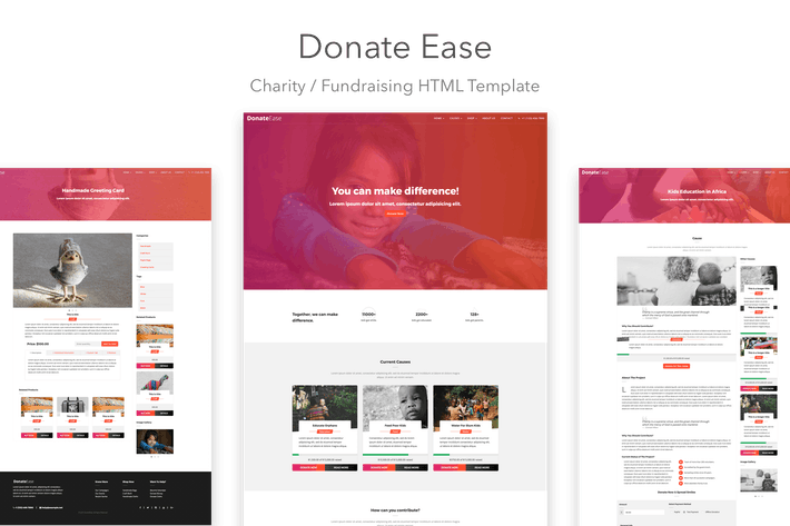 Thumbnail for Donate Ease - Charity / Fundraising HTML Template