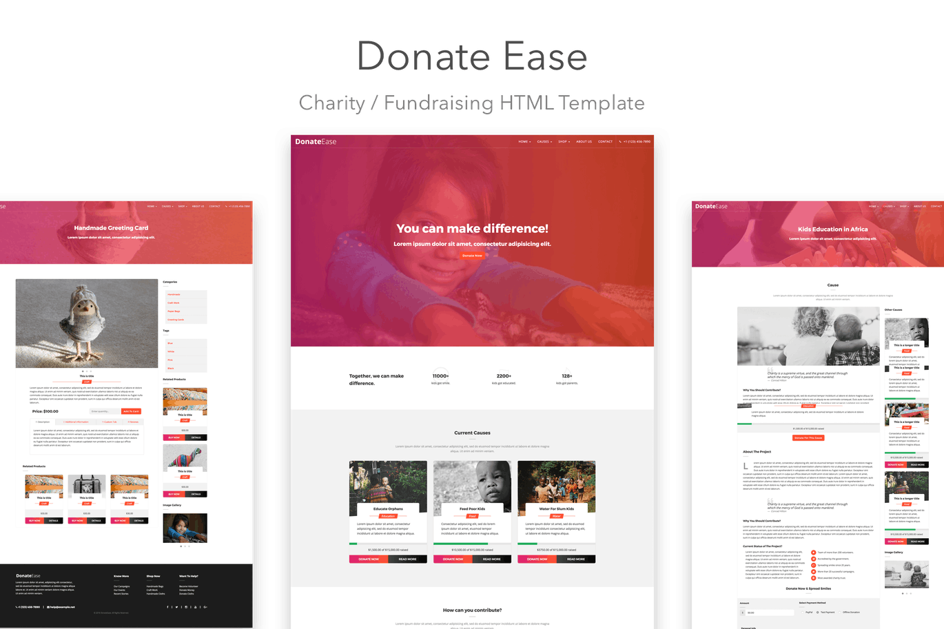 Donate Ease Charity Fundraising Html Template By Salttechno On