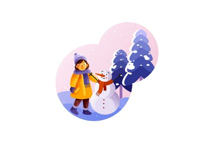 Little girl is standing near a snowman